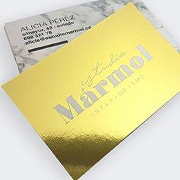 Tarjetas de visita estampación Oro