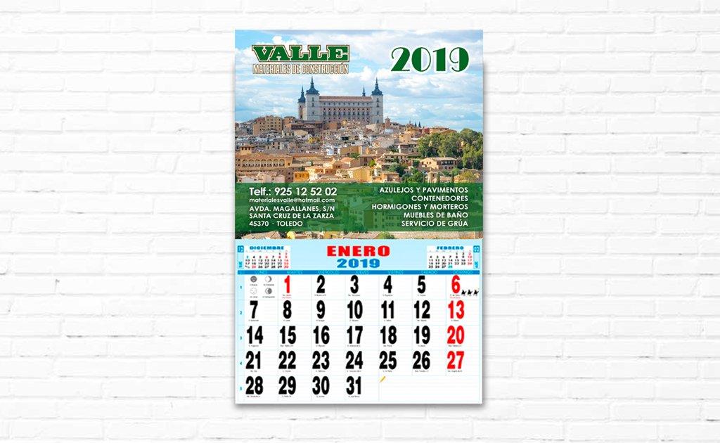 VALLE - CALENDARIOS 2019